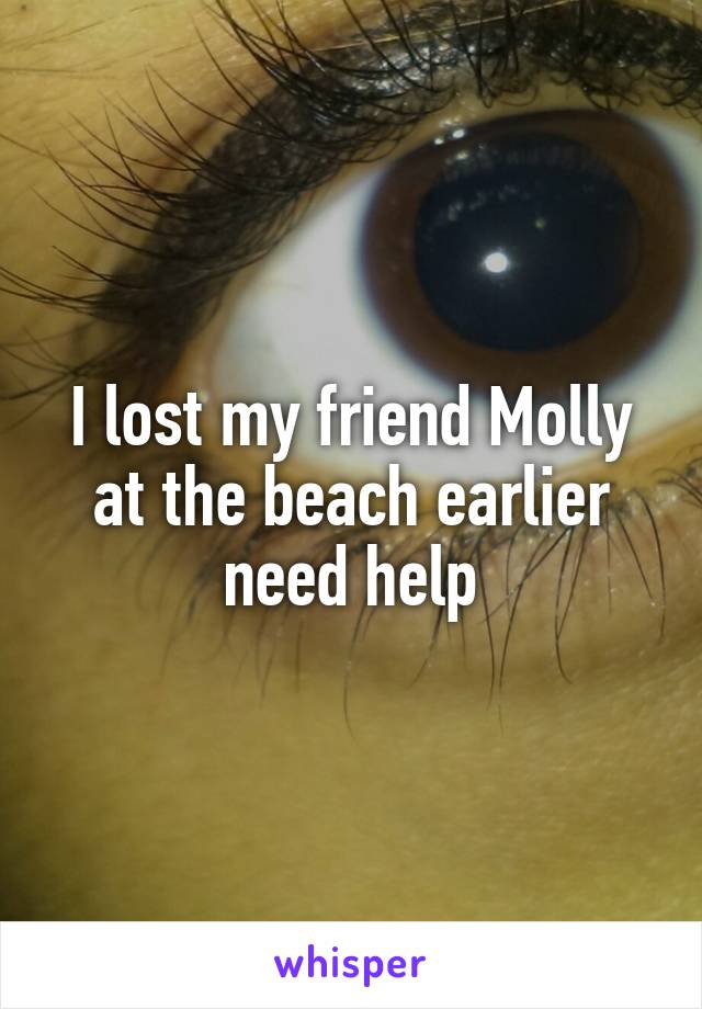 I lost my friend Molly at the beach earlier need help