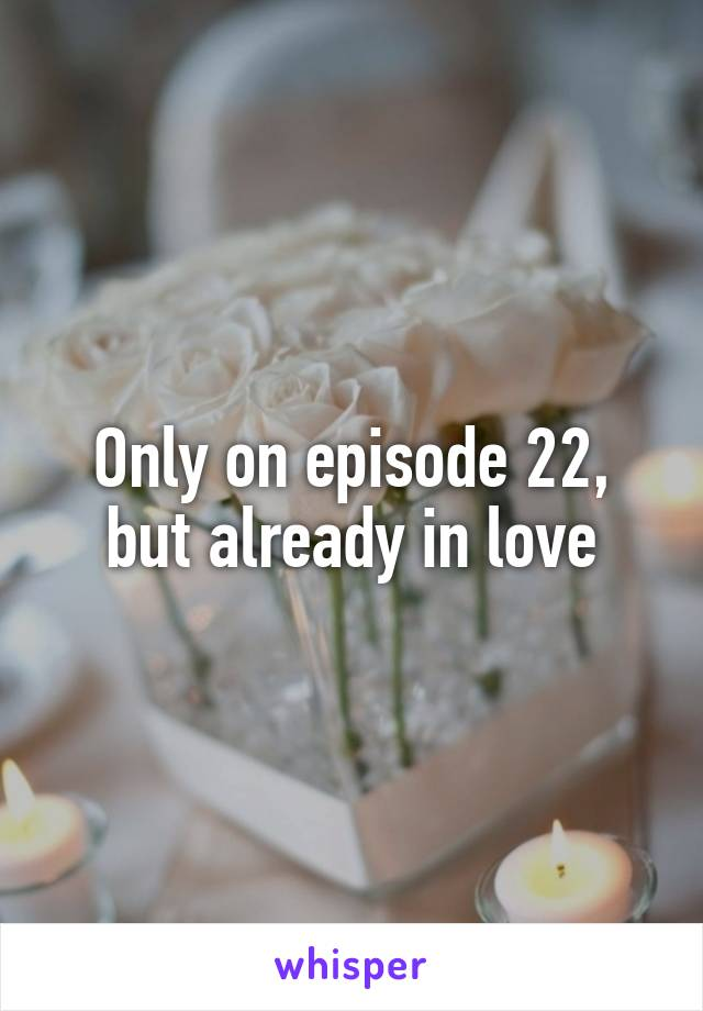 Only on episode 22, but already in love