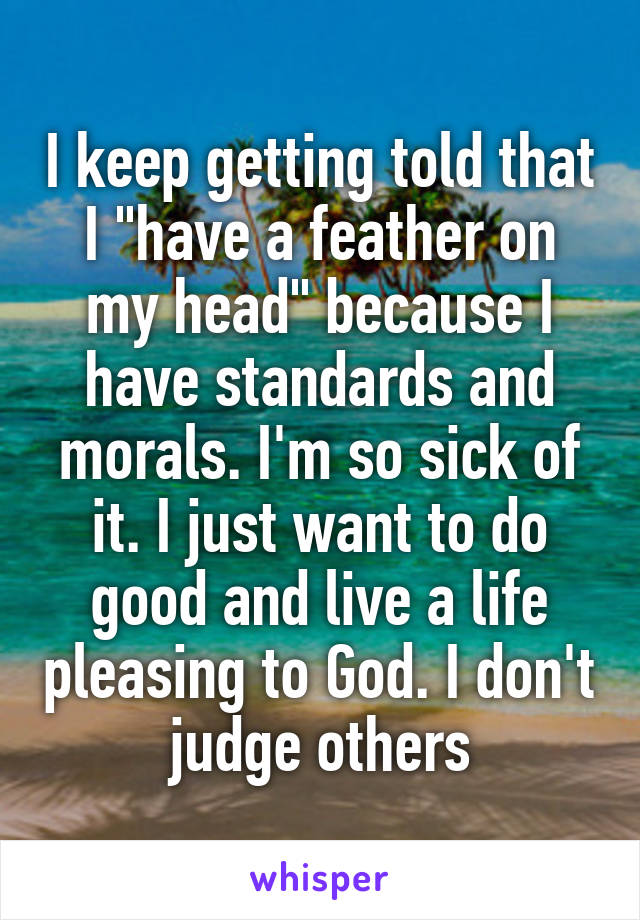 "I keep getting told that I ""have a feather on my head"" because I have standards and morals. I'm so sick of it. I just want to do good and live a life pleasing to God. I don't judge others"