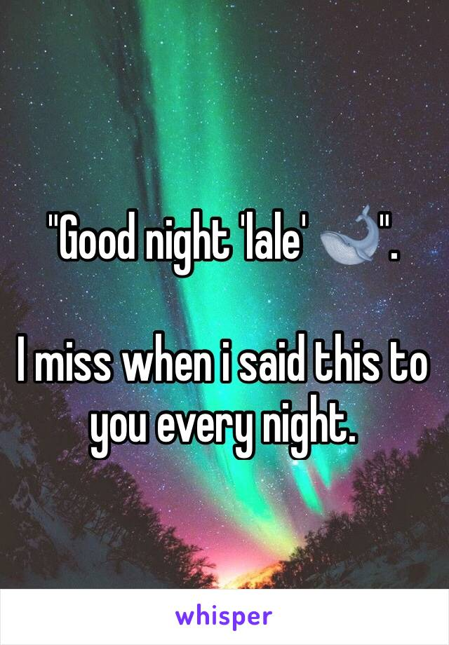 """""""Good night 'lale' 🐋"""".  I miss when i said this to you every night."""