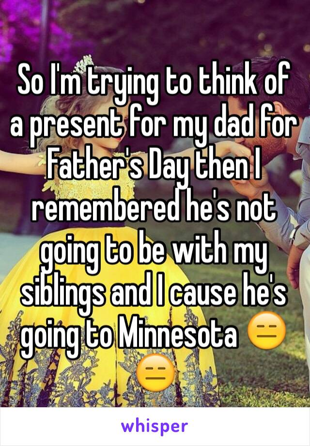 So I'm trying to think of a present for my dad for Father's Day then I remembered he's not going to be with my siblings and I cause he's going to Minnesota 😑😑