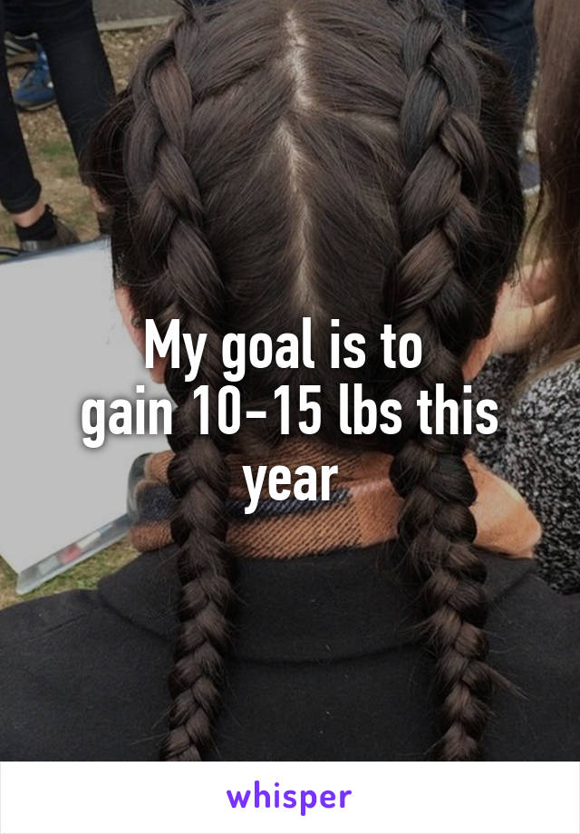 My goal is to  gain 10-15 lbs this year