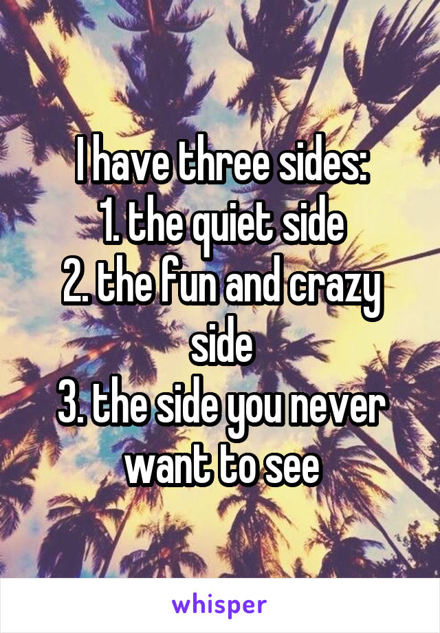 I have three sides: 1. the quiet side 2. the fun and crazy side 3. the side you never want to see