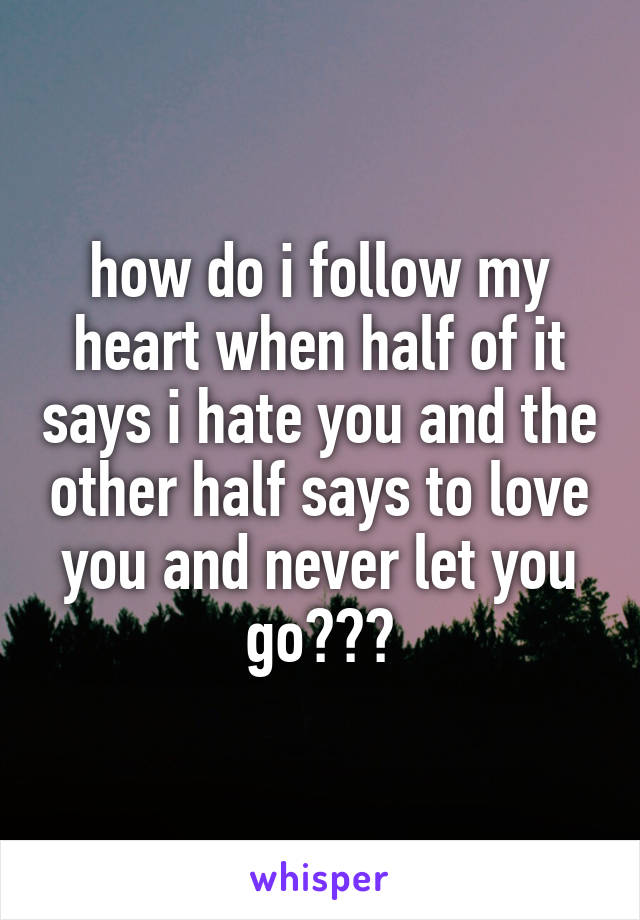 how do i follow my heart when half of it says i hate you and the other half says to love you and never let you go???