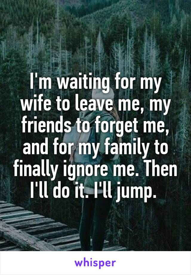 I'm waiting for my wife to leave me, my friends to forget me, and for my family to finally ignore me. Then I'll do it. I'll jump.