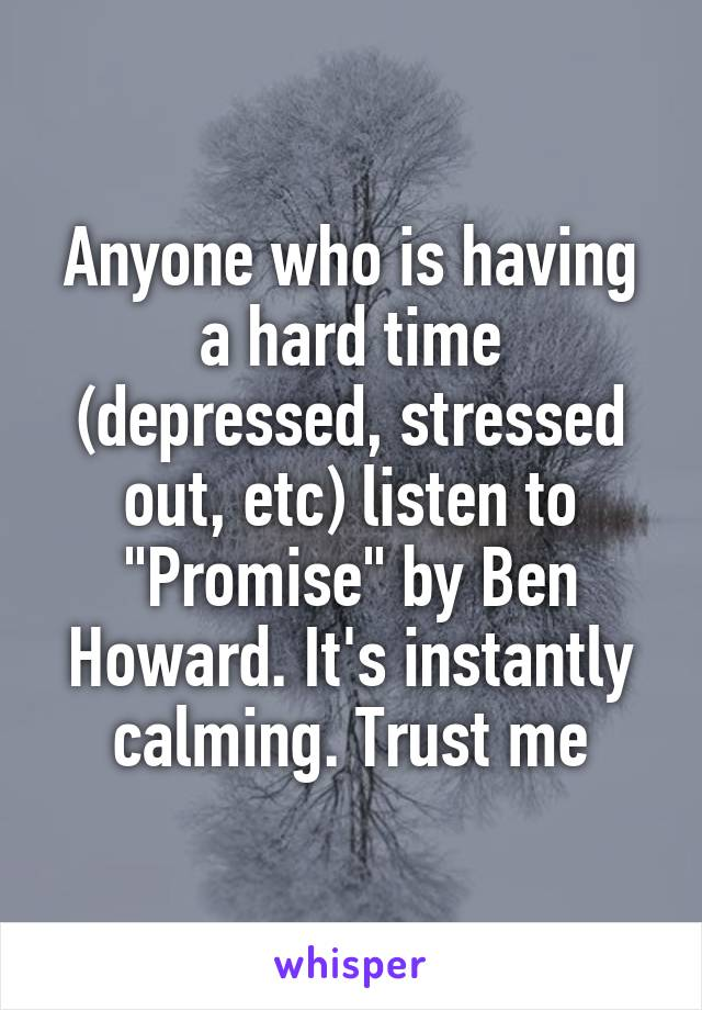 """Anyone who is having a hard time (depressed, stressed out, etc) listen to """"Promise"""" by Ben Howard. It's instantly calming. Trust me"""