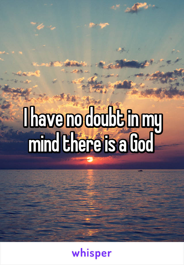 I have no doubt in my mind there is a God