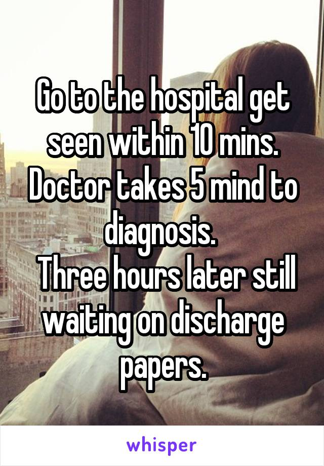 Go to the hospital get seen within 10 mins. Doctor takes 5 mind to diagnosis.   Three hours later still waiting on discharge papers.