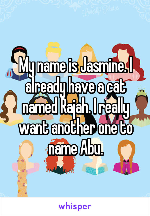 My name is Jasmine. I already have a cat named Rajah. I really want another one to name Abu.