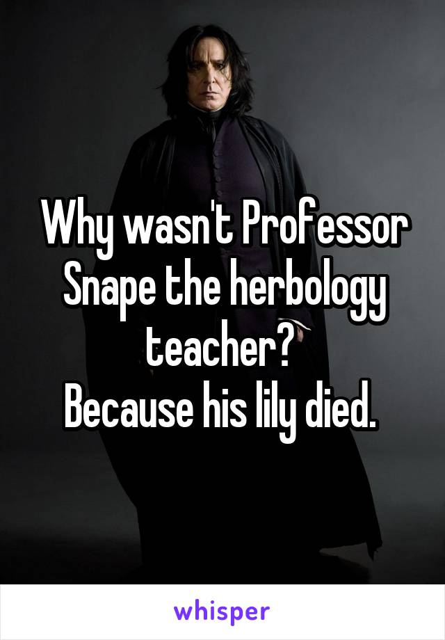 Why Wasn T Professor Snape The Herbology Teacher Because His Lily