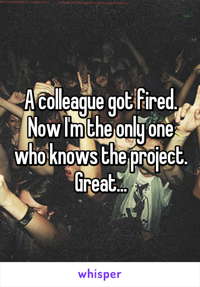A colleague got fired. Now I'm the only one who knows the project. Great...