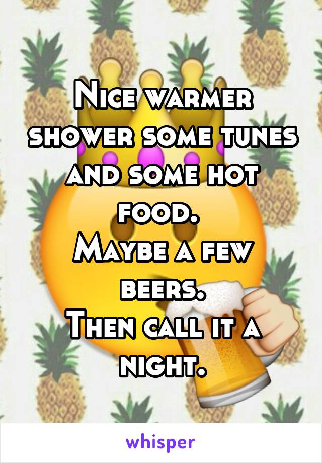 Nice warmer shower some tunes and some hot food.  Maybe a few beers. Then call it a night.