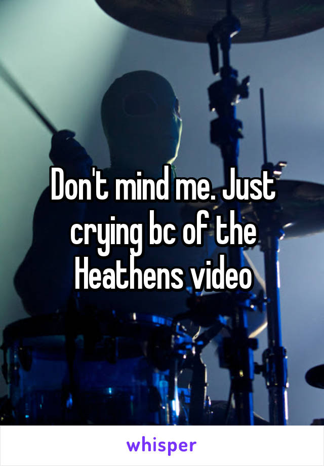 Don't mind me. Just crying bc of the Heathens video