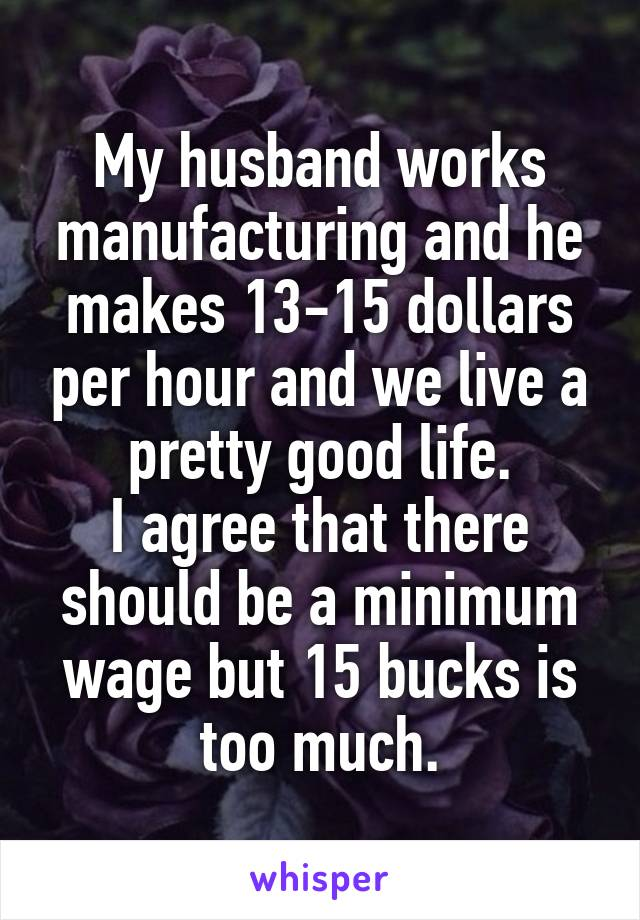 My husband works manufacturing and he makes 13-15 dollars per hour and we live a pretty good life. I agree that there should be a minimum wage but 15 bucks is too much.