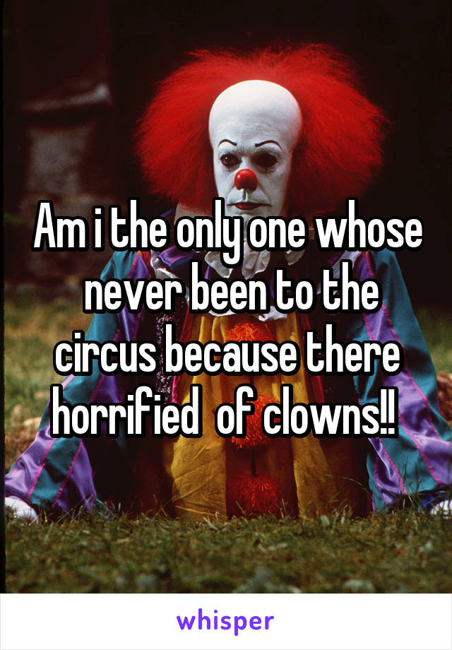 Am i the only one whose  never been to the circus because there horrified  of clowns!!