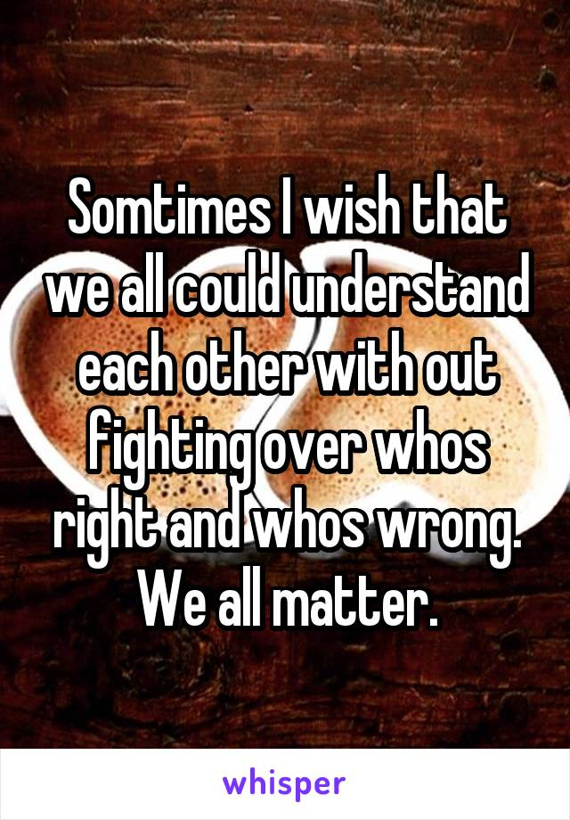 Somtimes I wish that we all could understand each other with out fighting over whos right and whos wrong. We all matter.