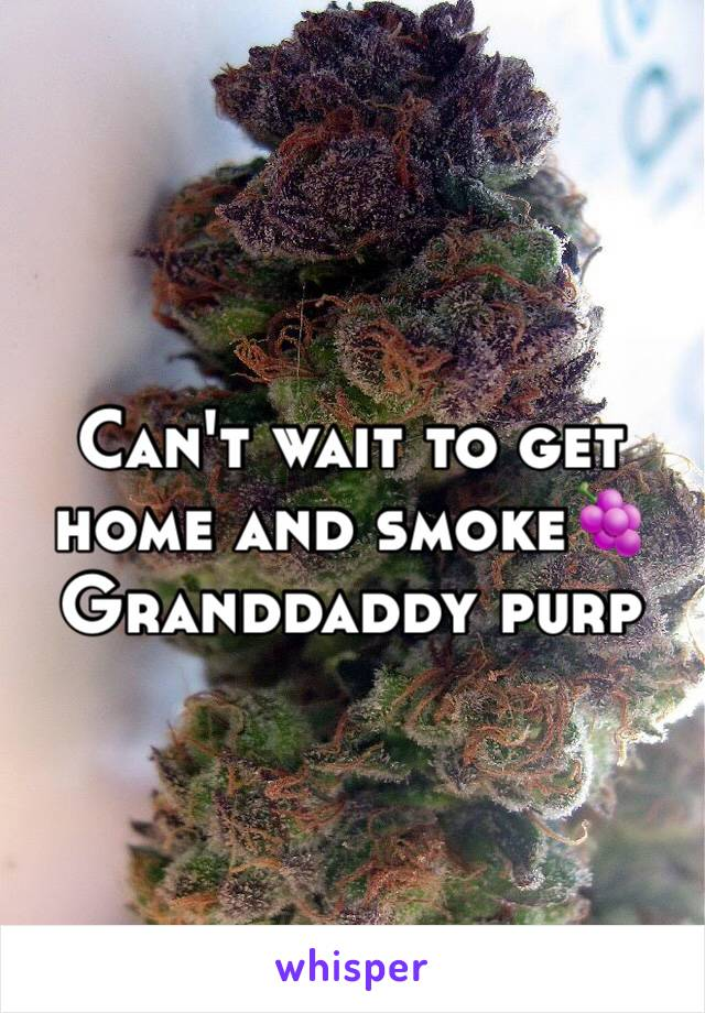 Can't wait to get home and smoke🍇 Granddaddy purp