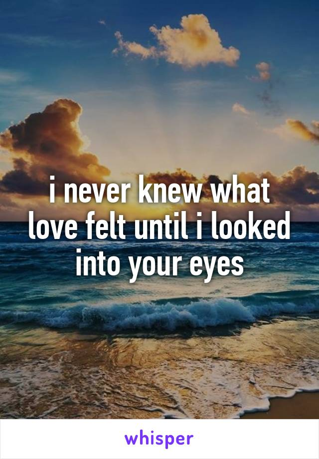 i never knew what love felt until i looked into your eyes
