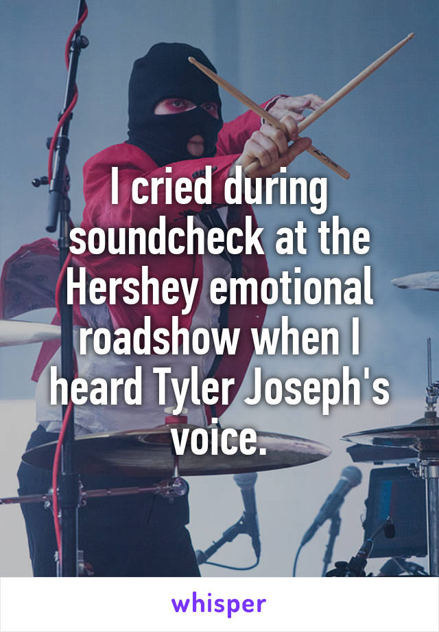 I cried during soundcheck at the Hershey emotional roadshow when I heard Tyler Joseph's voice.