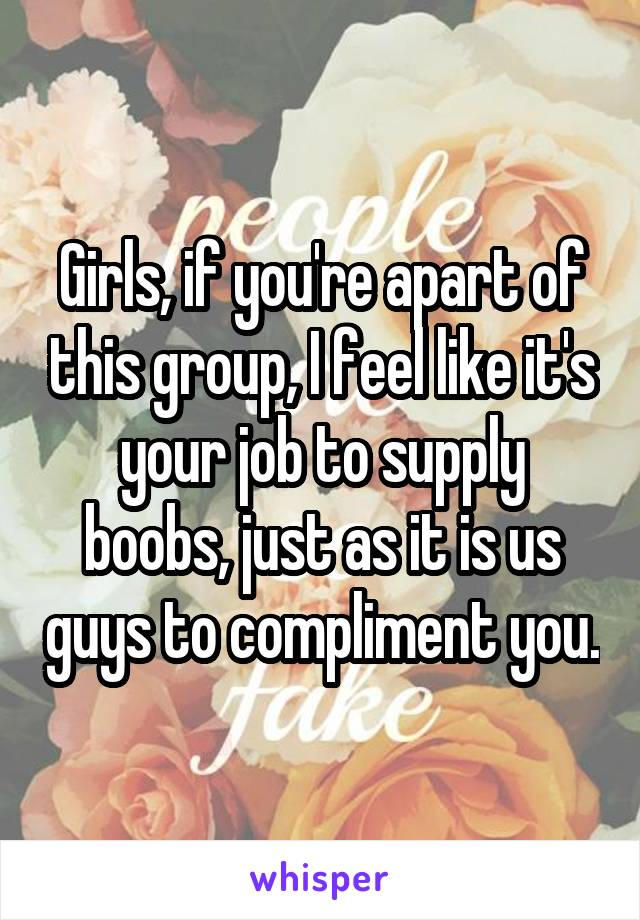 Girls, if you're apart of this group, I feel like it's your job to supply boobs, just as it is us guys to compliment you.