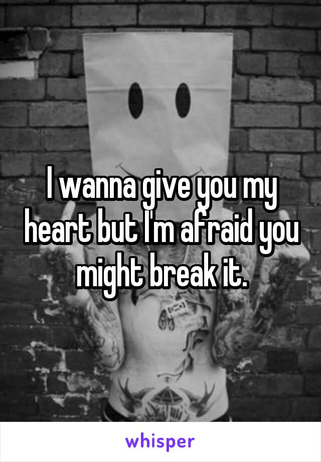 I wanna give you my heart but I'm afraid you might break it.