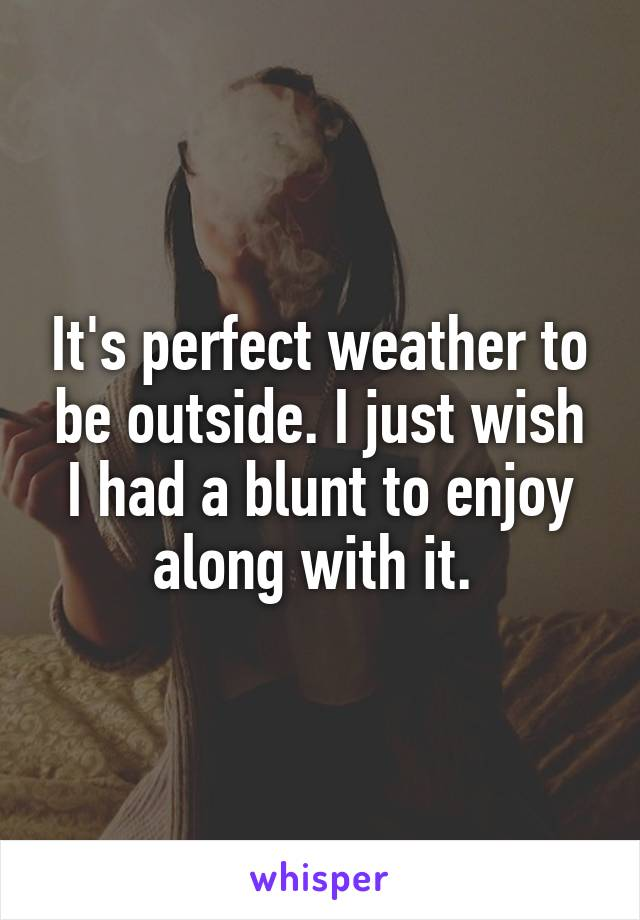 It's perfect weather to be outside. I just wish I had a blunt to enjoy along with it.