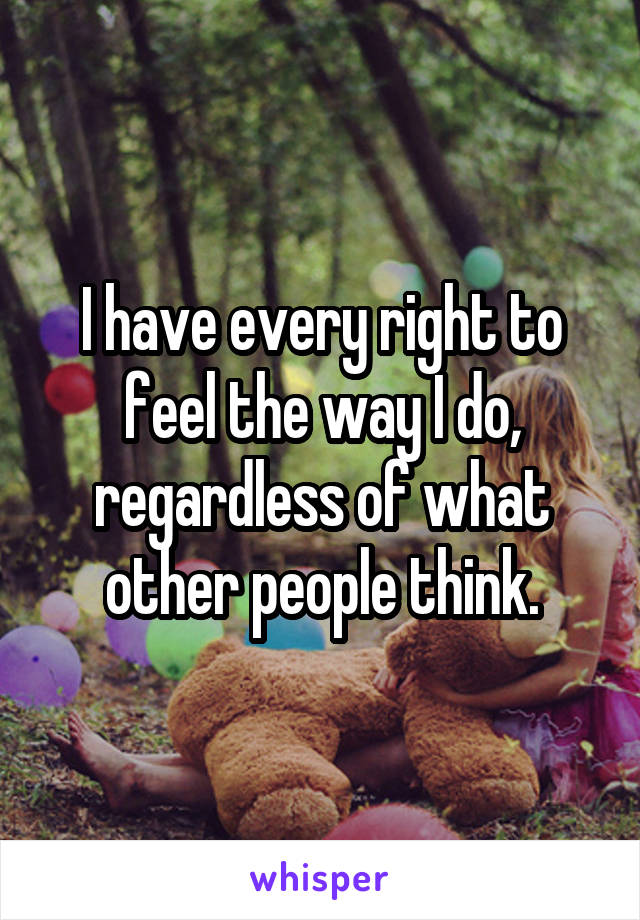 I have every right to feel the way I do, regardless of what other people think.