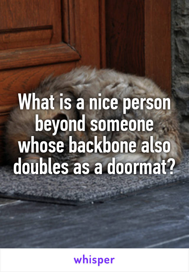 What is a nice person beyond someone whose backbone also doubles as a doormat?