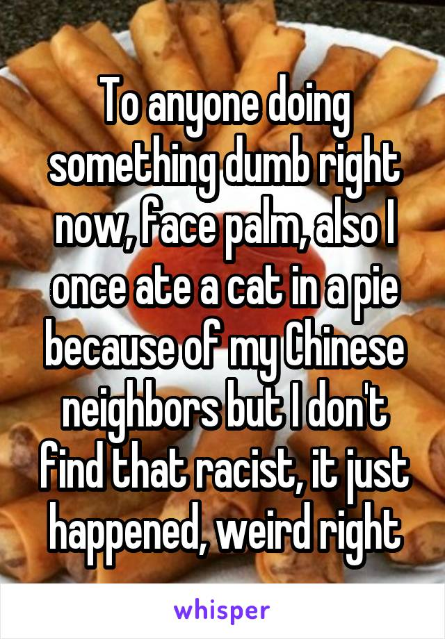 To anyone doing something dumb right now, face palm, also I once ate a cat in a pie because of my Chinese neighbors but I don't find that racist, it just happened, weird right