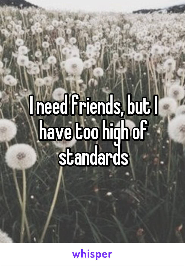 I need friends, but I have too high of standards