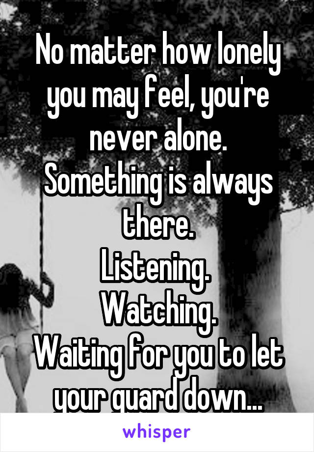 No matter how lonely you may feel, you're never alone. Something is always there. Listening.  Watching. Waiting for you to let your guard down...