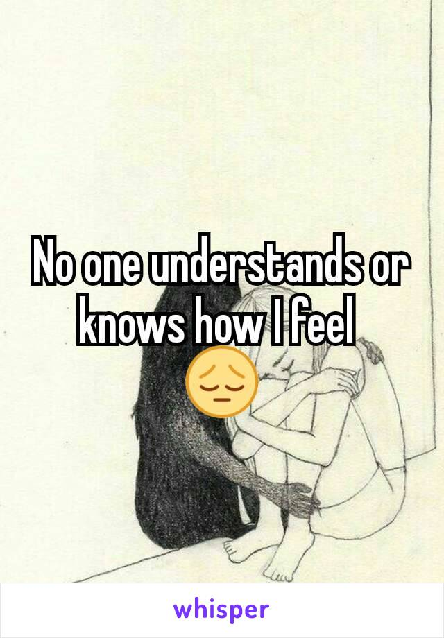 No one understands or knows how I feel  😔