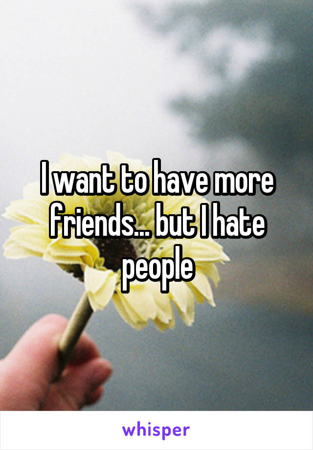 I want to have more friends... but I hate people