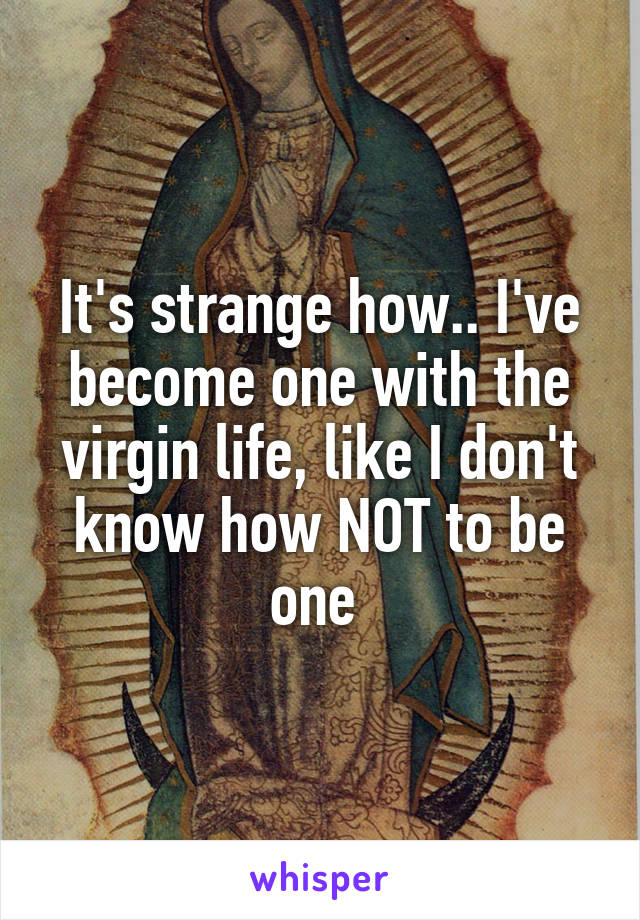 It's strange how.. I've become one with the virgin life, like I don't know how NOT to be one