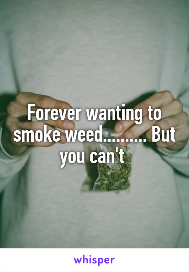 Forever wanting to smoke weed.......... But you can't
