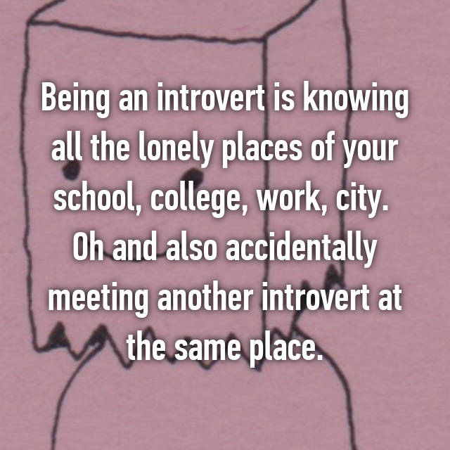 Being an introvert is knowing all the lonely places of your school, college, work, city.  Oh and also accidentally meeting another introvert at the same place.