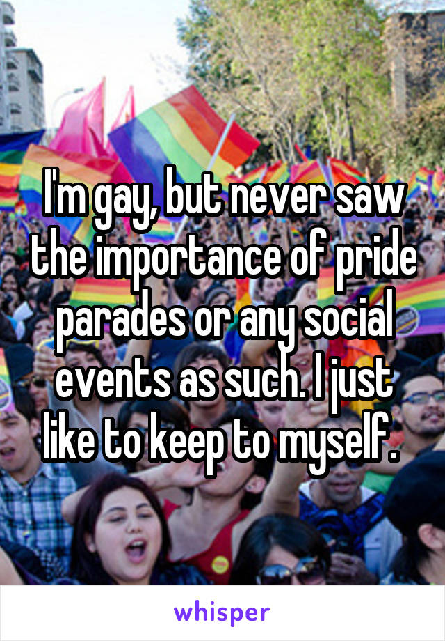 I'm gay, but never saw the importance of pride parades or any social events as such. I just like to keep to myself.