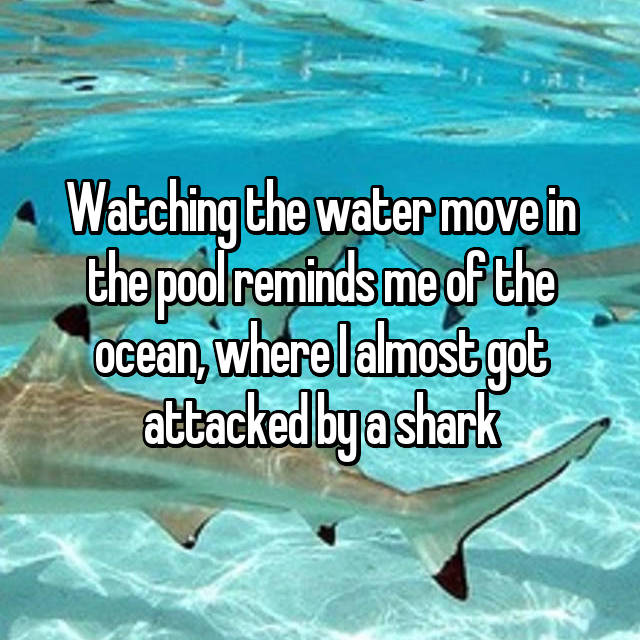 Watching the water move in the pool reminds me of the ocean, where I almost got attacked by a shark
