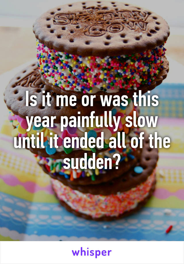 Is it me or was this year painfully slow until it ended all of the sudden?