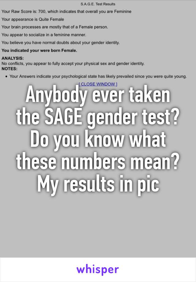 Anybody ever taken the SAGE gender test? Do you know what