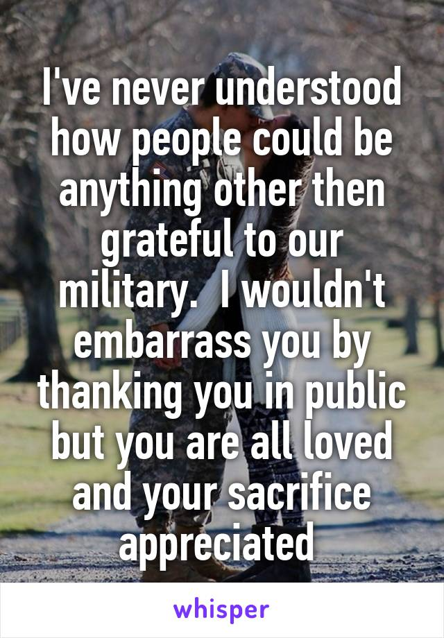 I've never understood how people could be anything other then grateful to our military.  I wouldn't embarrass you by thanking you in public but you are all loved and your sacrifice appreciated