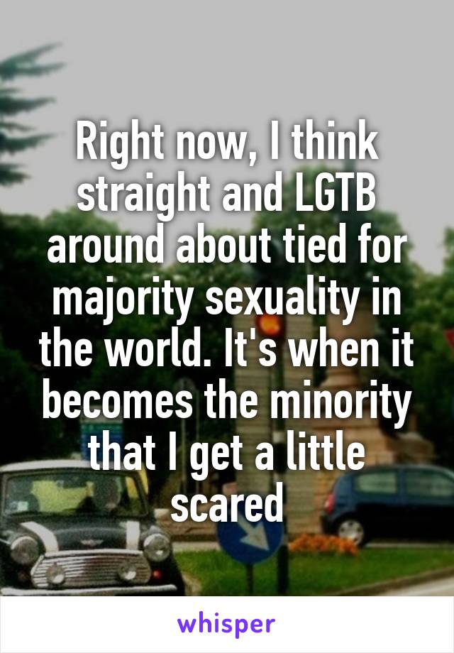 Right now, I think straight and LGTB around about tied for majority sexuality in the world. It's when it becomes the minority that I get a little scared