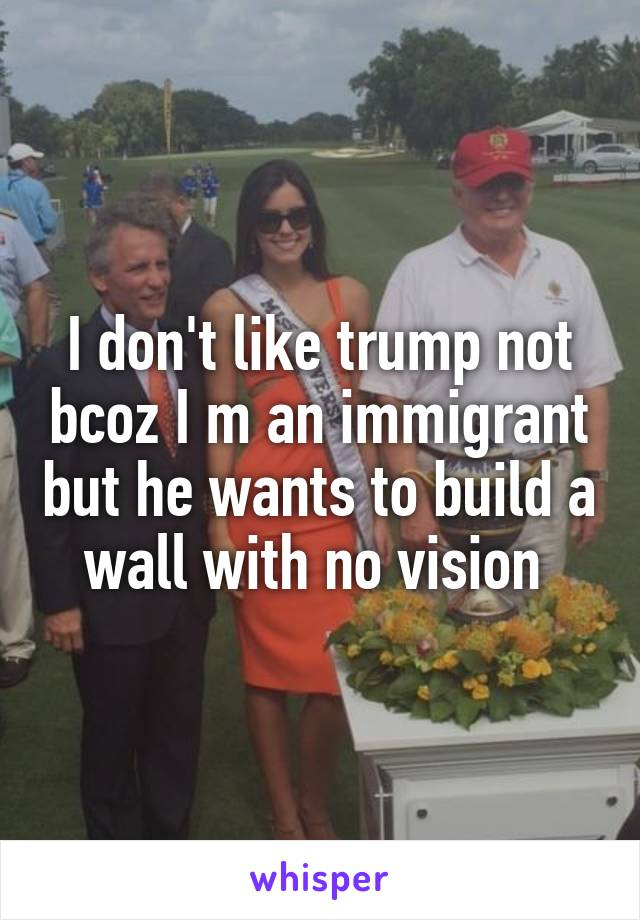 I don't like trump not bcoz I m an immigrant but he wants to build a wall with no vision