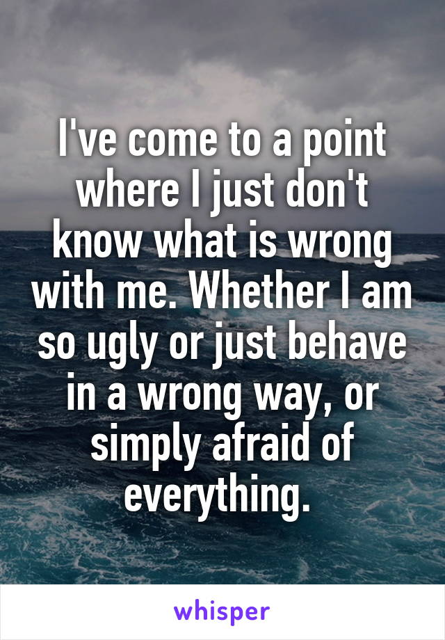 I've come to a point where I just don't know what is wrong with me. Whether I am so ugly or just behave in a wrong way, or simply afraid of everything.