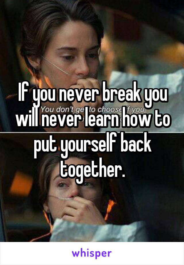 If you never break you will never learn how to put yourself back together.