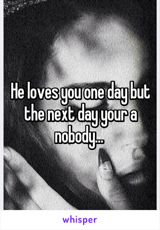 He loves you one day but the next day your a nobody...