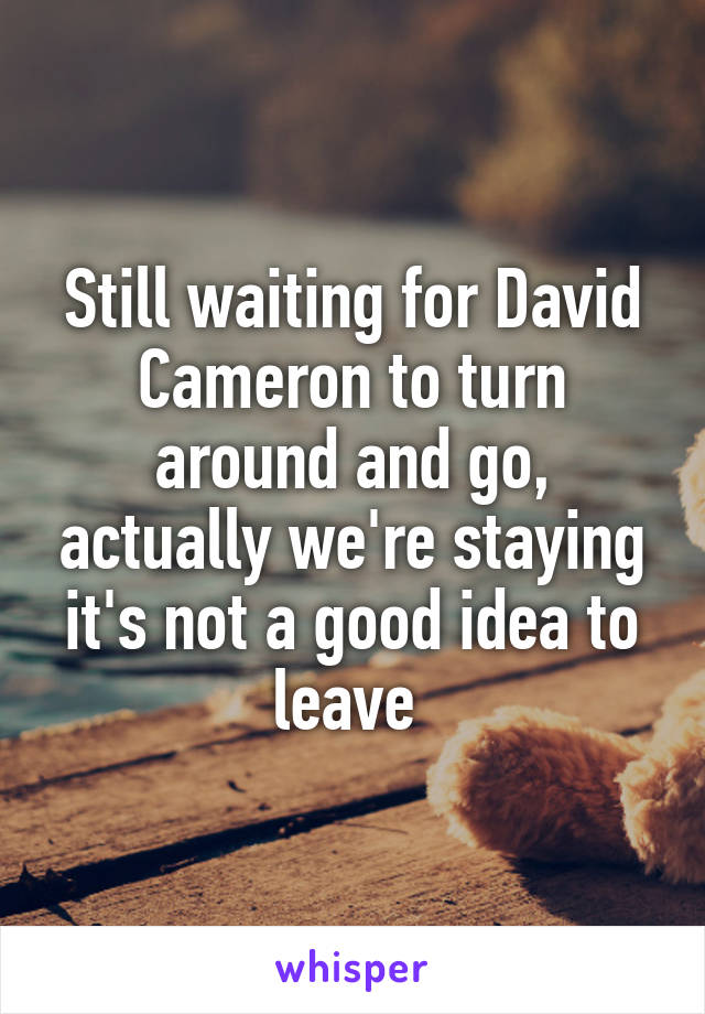 Still waiting for David Cameron to turn around and go, actually we're staying it's not a good idea to leave