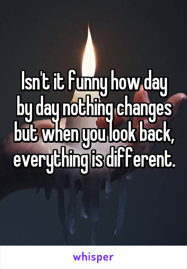 Isn't it funny how day by day nothing changes but when you look back, everything is different.