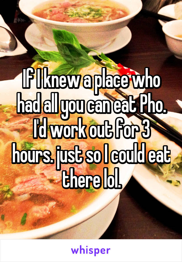 If I knew a place who had all you can eat Pho. I'd work out for 3 hours. just so I could eat there lol.