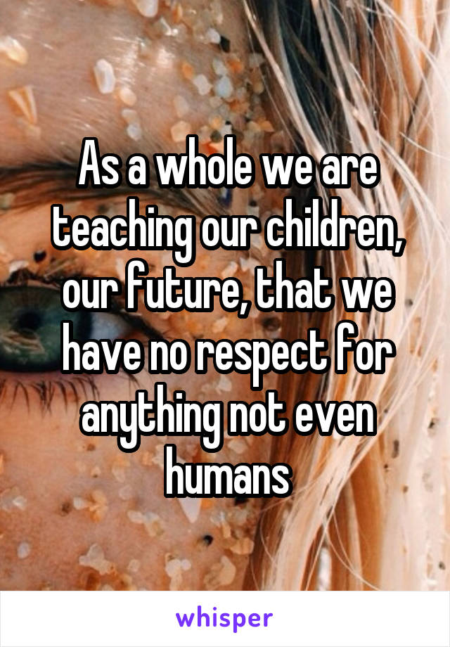 As a whole we are teaching our children, our future, that we have no respect for anything not even humans